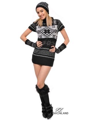 Дамски комплект от 3 части (пуловер+шапка+ръкавели)
