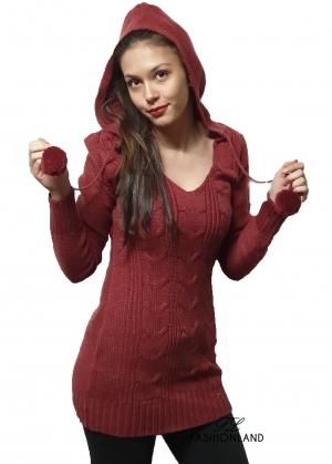 Дамски пуловер с качулка