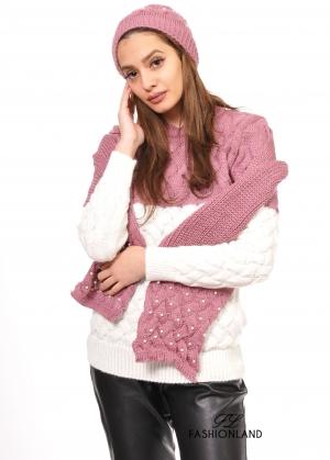 Дамски пуловер +шапка+шал